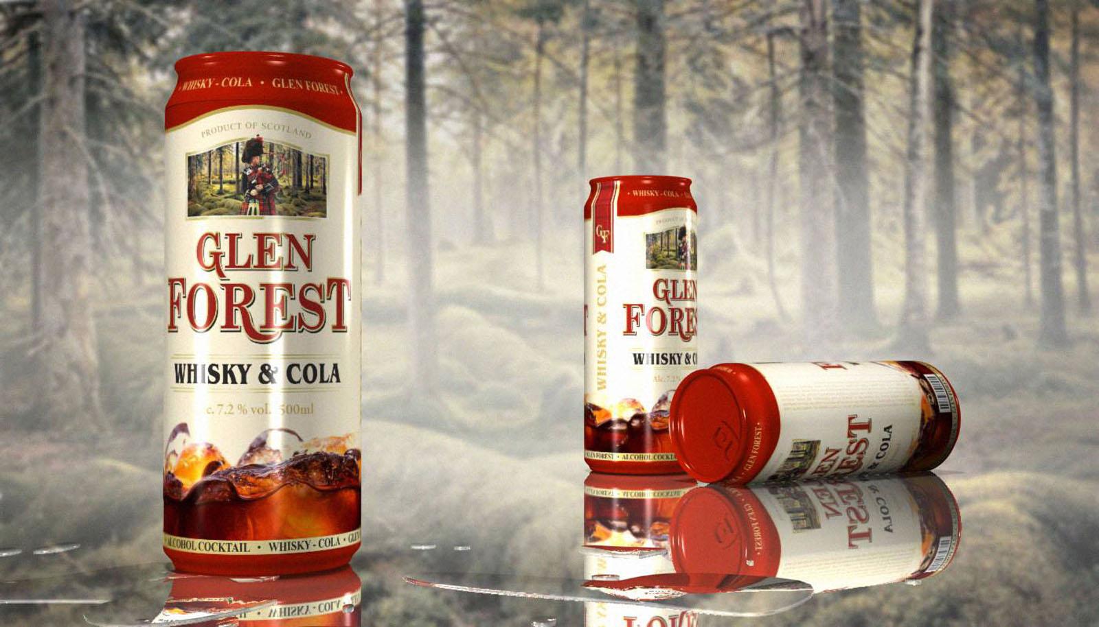Glen Forest. Разработка дизайна на заказ для виски колы коктейля