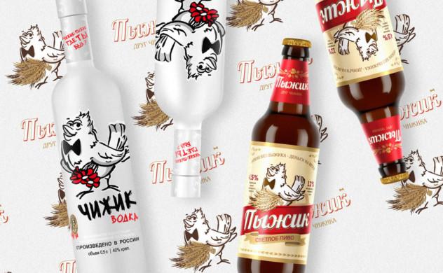 Дизайн декора на бутылку для водки Чижик.